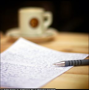 writing and cup