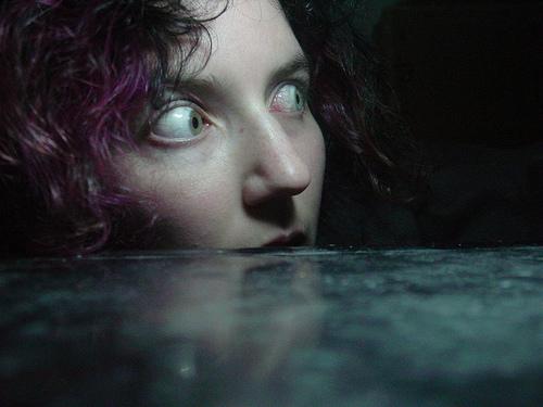 Terrified woman