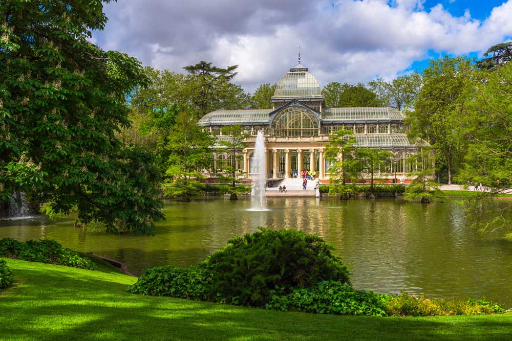 Crystal Palace (Palacio de cristal) in Retiro Park in Madrid, Sp